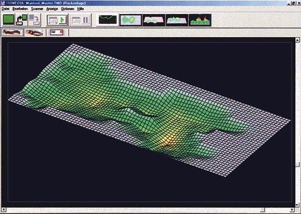 Kompetenz-Zentrum Bildschirmausdruck einer Wasserbett-Messung